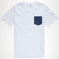 Blue Crown Mens Contrast Pocket Tee White  In Sizes