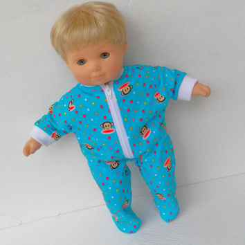 """Bitty Baby Clothes Pajamas Pjs Sleeper American Girl 15"""" Girl Doll Turquoise Monkey Print Cotton Knit Feetie"""