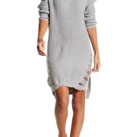 Solutions | Distressed Long Sleeve Sweater Dress | Nordstrom Rack