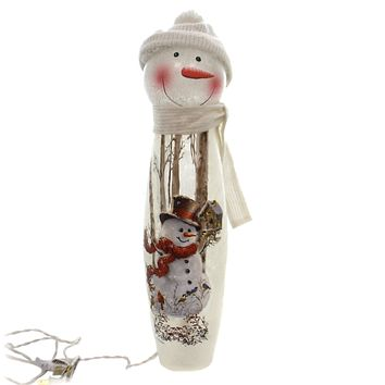 GIANT LIGHTED SNOWMAN Glass Scarf Hat Dsb8285