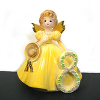 Josef Originals 8 Year Birthday Girl Angel - Yellow Gown Holding Bonnet - Vintage Collectible Ceramic Figurine - Keepsake - Minty Condition
