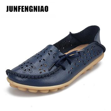 JUNFENGNIAO Plus Ballet Summer Cut Out Women Genuine Leather Shoes Woman Flats Flexible Round Toe Nurse Casual Fashion HC-911-2