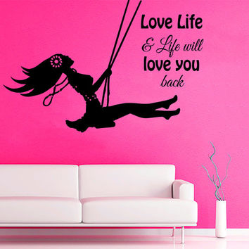 Inspirational Wall Decal Quote Love Life Vinyl Sticker Girls Bedroom Wall Art Mural Home Boho Decor Living Room Interior Design KI145