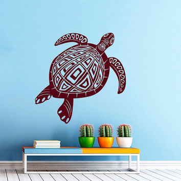Wall Decal Vinyl Sticker Decals Art Home Decor Design Mural Turtle Tortoise Tortoiseshell Water Sea Animal Swim Fashion Bedroom Dorm AN78