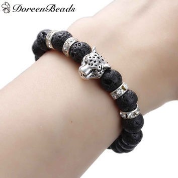 Stone Lava Beaded Healing Bracelet with Antique Silver Leopard Head Clear Rhinestone Elastic for Agility