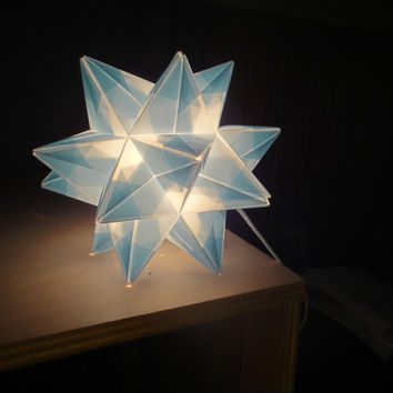 Baby Blue Origami Paper Modular Star Lamp Handmade in Vermont
