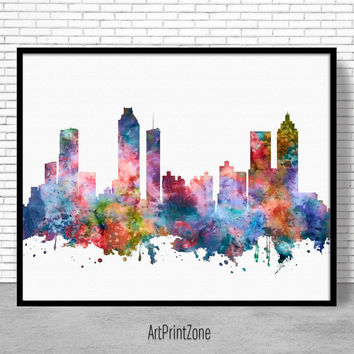 Atlanta Skyline, Atlanta Print, Atlanta Georgia, Office Decor, Office Art, Travel Poster, Watercolor City Prints, ArtPrintZone