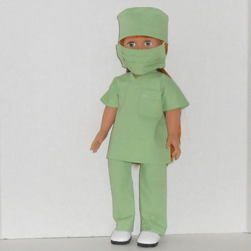 American Girl or Boy Doll Clothes Green Surgical Scrubs for Doctor or Nurse with Mask and Cap