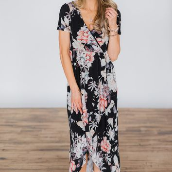 You're The One I Want Floral Maxi Dress - Black