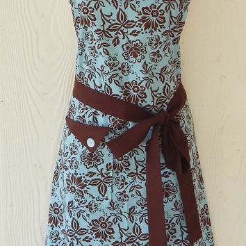 Brown Blue Damask Apron / Womens Retro Style Full Apron / Floral / Eclectasie
