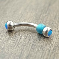 Double Ended Blue Opal Daith Rook Eyebrow Ring Piercing