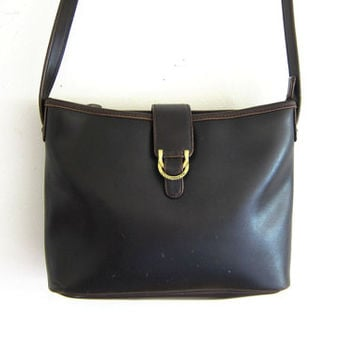 Vintage Cross Body Purse. Preppy Chocolate Brown Shoulder Bag with long strap. Liz Claiborne purse