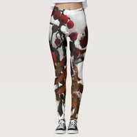 Red and brown snowy rowan berries leggings