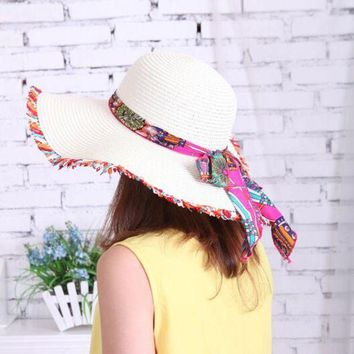 ONETOW 1 Pcs Fashion National Wind Lace Parent-child Caps Spring Summer Sun Hats For Women And Girl Beach Straw Hat 8 Colors 6141