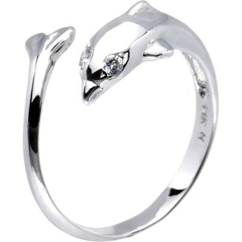Solid 14kt White Gold Dolphin Toe Ring