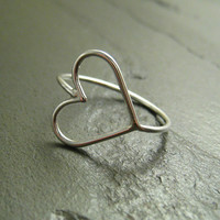 Sterling Silver Ring - Open Sideways Heart - Simple Modern Minimal Ring