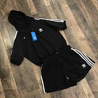 Adidas Summer fashion new stripe print hooded gauze women and men short sleeve top t-shirt and shorts two piece suit Black