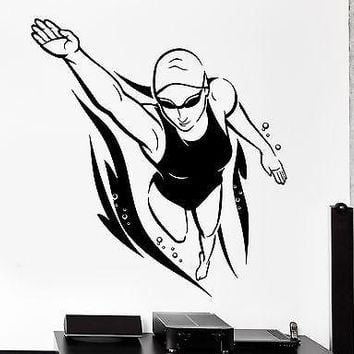 Wall Sticker Sport Swimmer Freestyle Female Woman Swimmer Vinyl Decal Unique Gift (z3002)