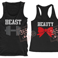 Cute Matching Beauty and Beast Couples Matching Tank Tops