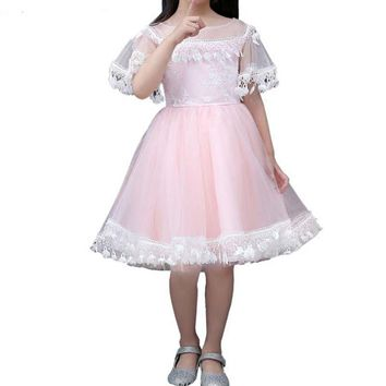 Cute Sweet Pink Tulle Girl Dress Custom Knee-Length Short Sleeve Children Light Blue Gown Flower Girl Dress