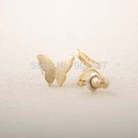 1 PCS-S024 Fashion jewelry New Cute Butterfly Earrings for Women Gold Silver Rose Gold Animal studs Earrings