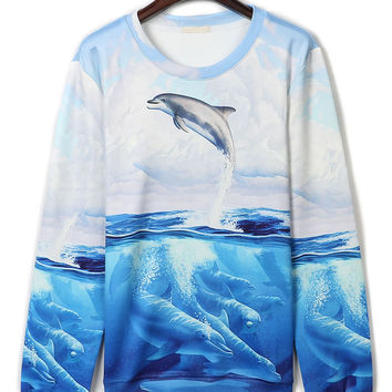 Blue 3D Dolphin Print Long Sleeve Sweatshirt