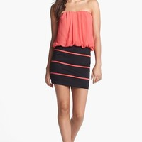 Trixxi Strapless Pleated Blouson Dress (Juniors) (Online Only) | Nordstrom