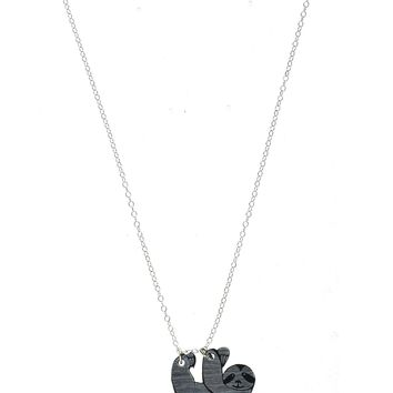 Sloth Necklace in Silver/Black