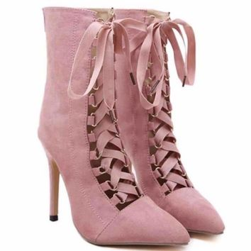 Pointed Toe Lace Up High Heels Women Stiletto Booties