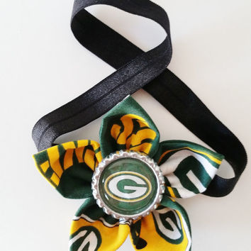 Green Bay Packers Headband, Toddler and Newborn Football Headband, Packers Hair Accessory, Packers Baby, Packers Hairbow, Packers Fan Gift