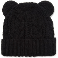 Black Cable Knitted Beanie Hat with Ears