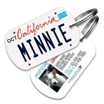 California License Plate Pet Tag
