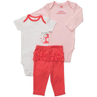 Carter's Girls 3 Piece Ladybug Turn Me Around Set with Long Sleeve Bodysuit, Short Sleeve Bodysuit, and Pant