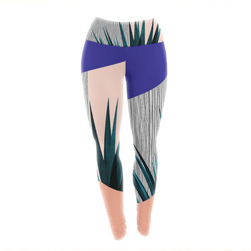 "Cafelab ""Summer Geometry "" Blue Coral Yoga Leggings"
