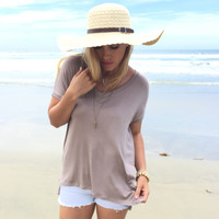 Jersey V-Neck Top In Mocha