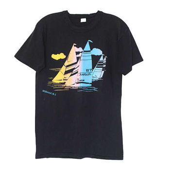 Vintage 80s Super Soft Sailing Wildwood, NJ Beach Tee T-Shirt | Adult Size Small | 1980s Retro Pastel Black Graphic