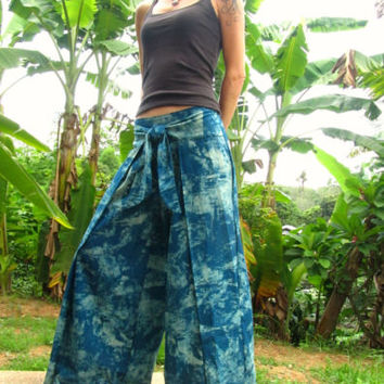 Blue Tie-dye Wrap Trousers Pants Kimono Wrap Flare Hippie Travel Festival Indie | eBay