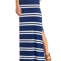 Striped Double Slit Maxi Skirt by Charlotte Russe - Navy Blue