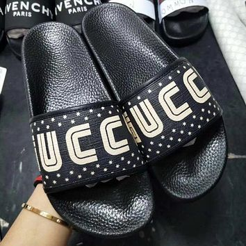 GUCCI Woman Men Leather Fashion Slipper Sandals Shoes