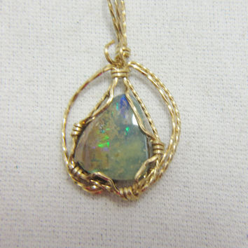 Australian Boulder Opal 14K Gold Filled Wire Wrap Pendant Artisan Native American Made Cherokee Made #157