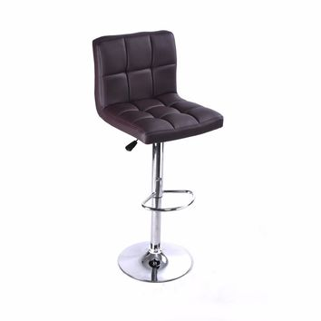 1PC Adjustable Leather Swivel Brown Bar Stool