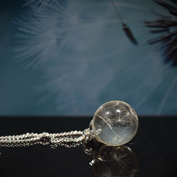 Real dandelion sphere shape resin pendant Real flower jewelry Make a wish pendant Real dandelion jewellery Floral necklace Gift for her