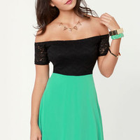 Flare for the Chromatic Sea Green and Black Lace Dress
