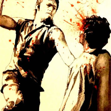 Daryl Pen & Ink Watercolor Fine Art Print Walking Dead Norman Reedus