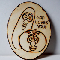 VeggieTales wall hanging children wall art wood burning pyrography kids room decor home decor woodburning Sunday school christian religious