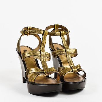 Louis Vuitton Metallic Gold & Brown Leather Open Toe Wedge Sandals