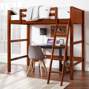 Your Zone Twin Wood Loft Bed with BONUS Mattress - Walmart.com