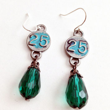 Number 25, Green Gem Drop, Dangle Jewelry, Twenty Five, Number Charm Style, Steampunk Earrings, Industrial Charms, Blue, Silver Plated Hook
