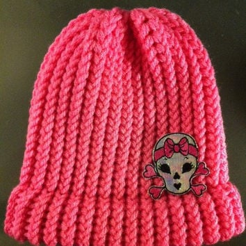 "Girls Pink ""Bad to the Bone""  Knitted Beanie"