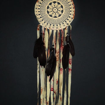 Bohemian dream catcher, crochet, brown, peach, lace dreamcatcher crochet doily, wall hanging, long, beads